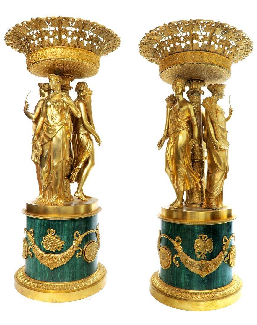 Pair of Monumental Empire Bronze/Malachite Centerpieces - 5