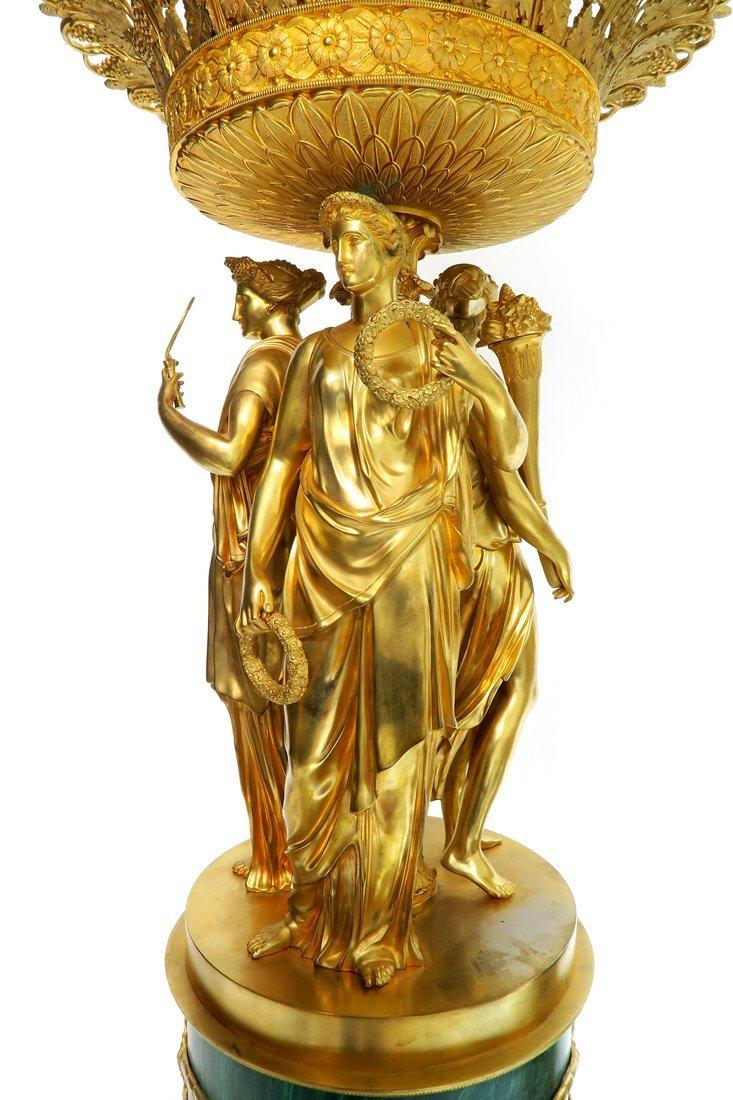 Pair of Monumental Empire Bronze/Malachite Centerpieces - 6