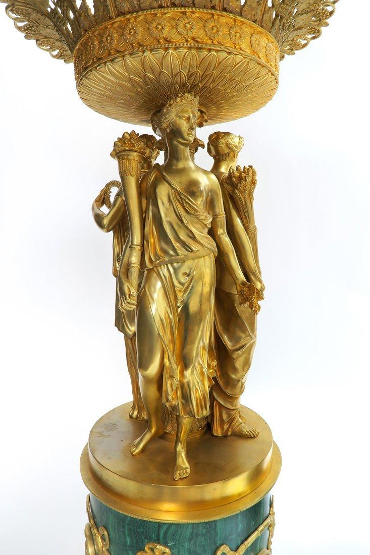 Pair of Monumental Empire Bronze/Malachite Centerpieces - 7