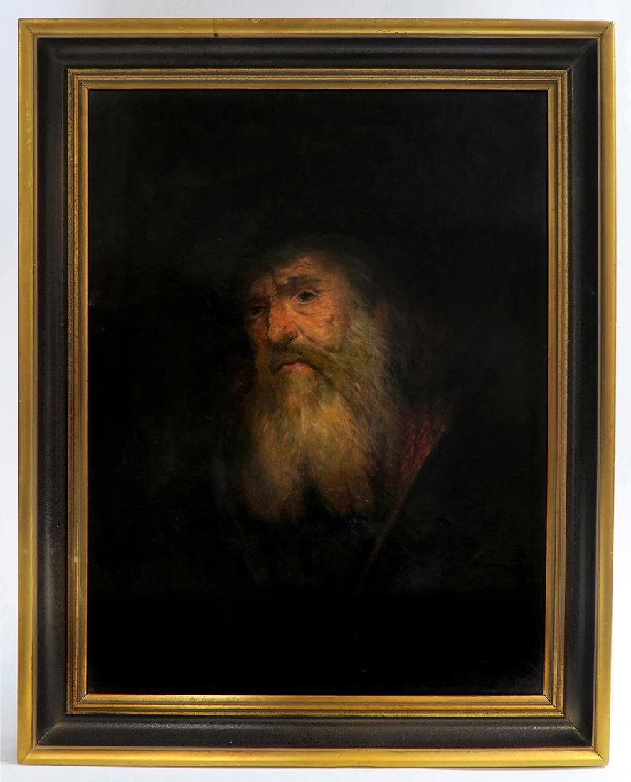 Large Judaica Oil on Canvas Painting of a Rabbi Signed