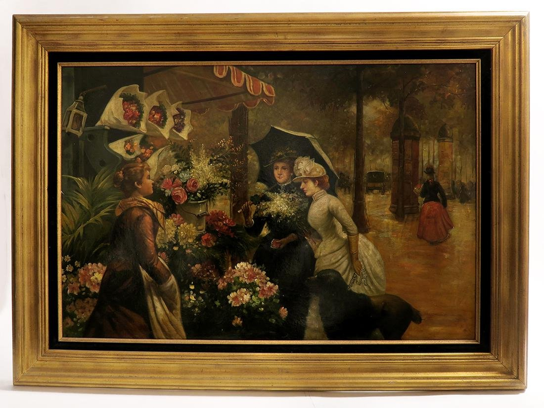 19th C. Continental Oil on Canvas Painting, The Florist