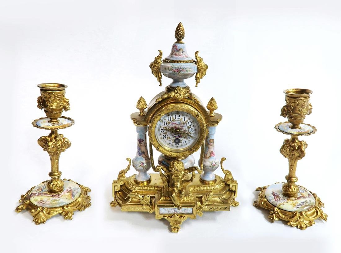 Viennese/French Enamel & Figural Bronze Clock Set