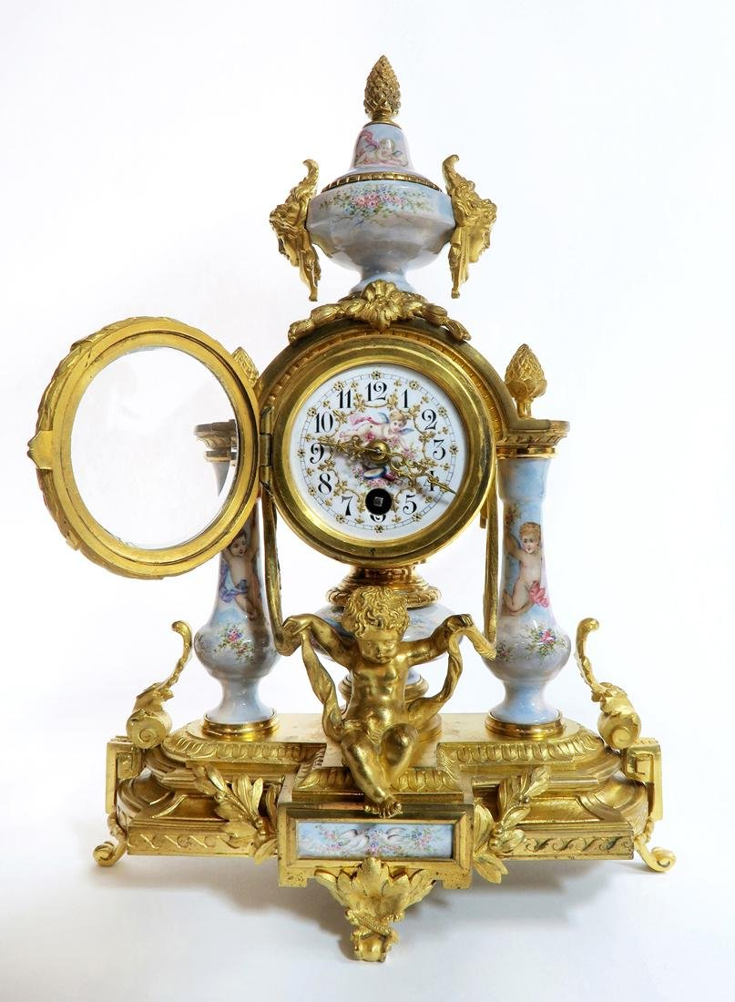 Viennese/French Enamel & Figural Bronze Clock Set - 2
