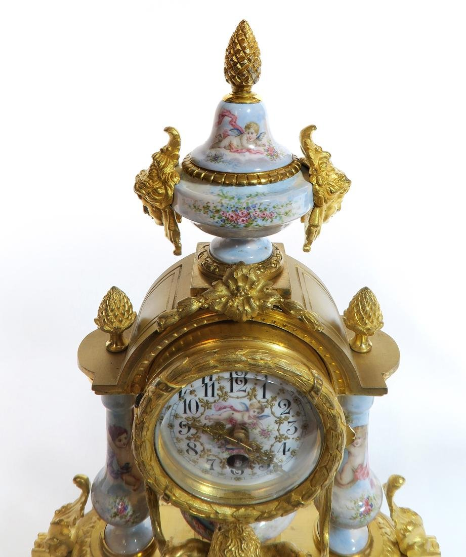 Viennese/French Enamel & Figural Bronze Clock Set - 6