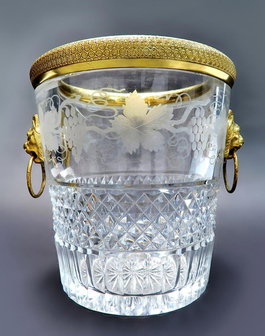 19th C. French Bronze & Baccarat Crystal Ice Bucket