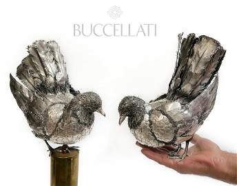 Large Pair of Buccellati Hand Made Silver Doves, Signed