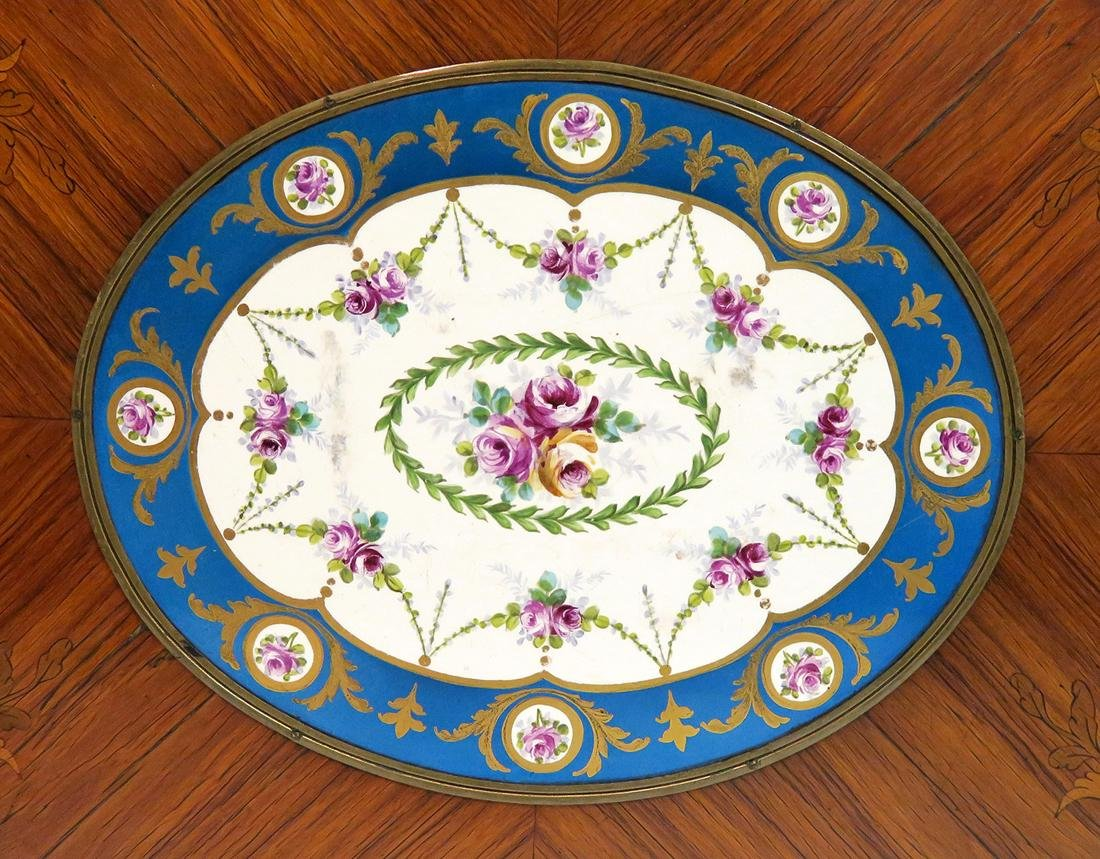 19th C. French Bronze Mounted Marquetry & Sevres Table - 4