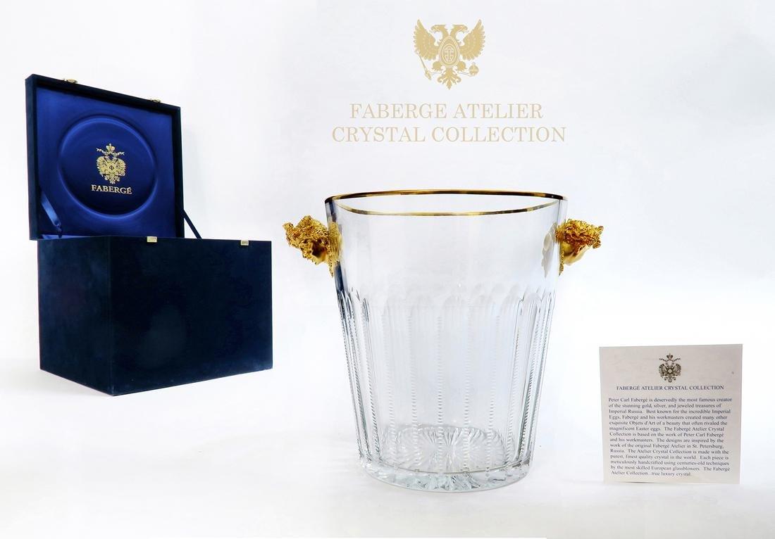 Faberge Cut Crystal & Bronze Ice Bucket