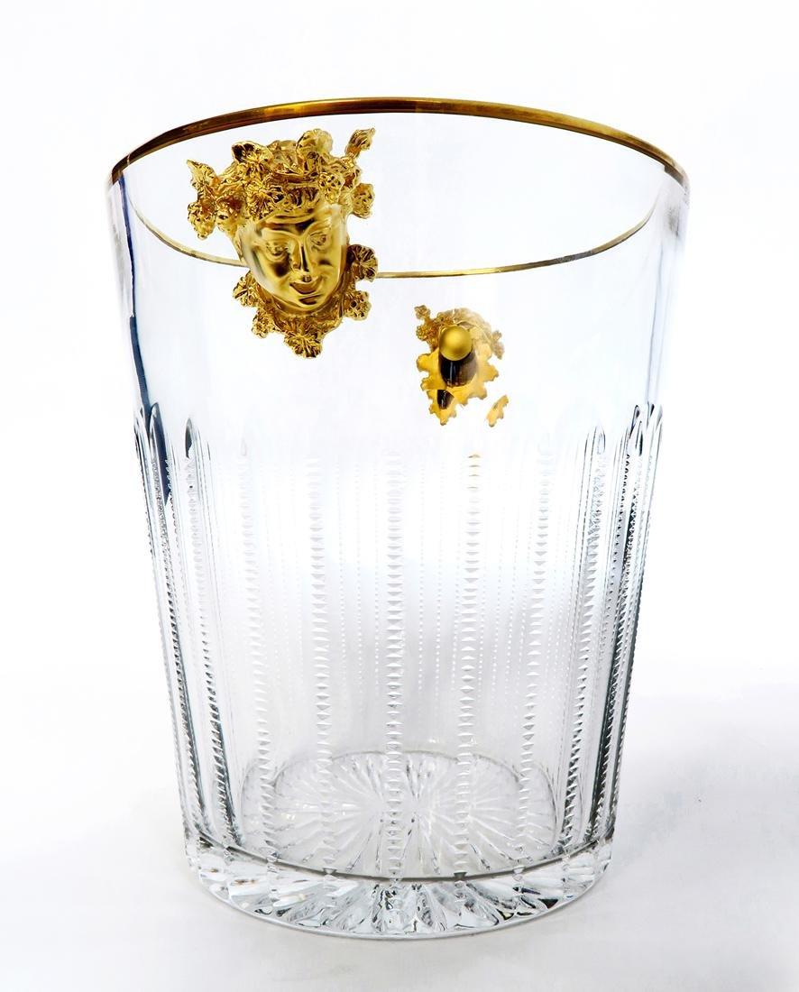 Faberge Cut Crystal & Bronze Ice Bucket - 2