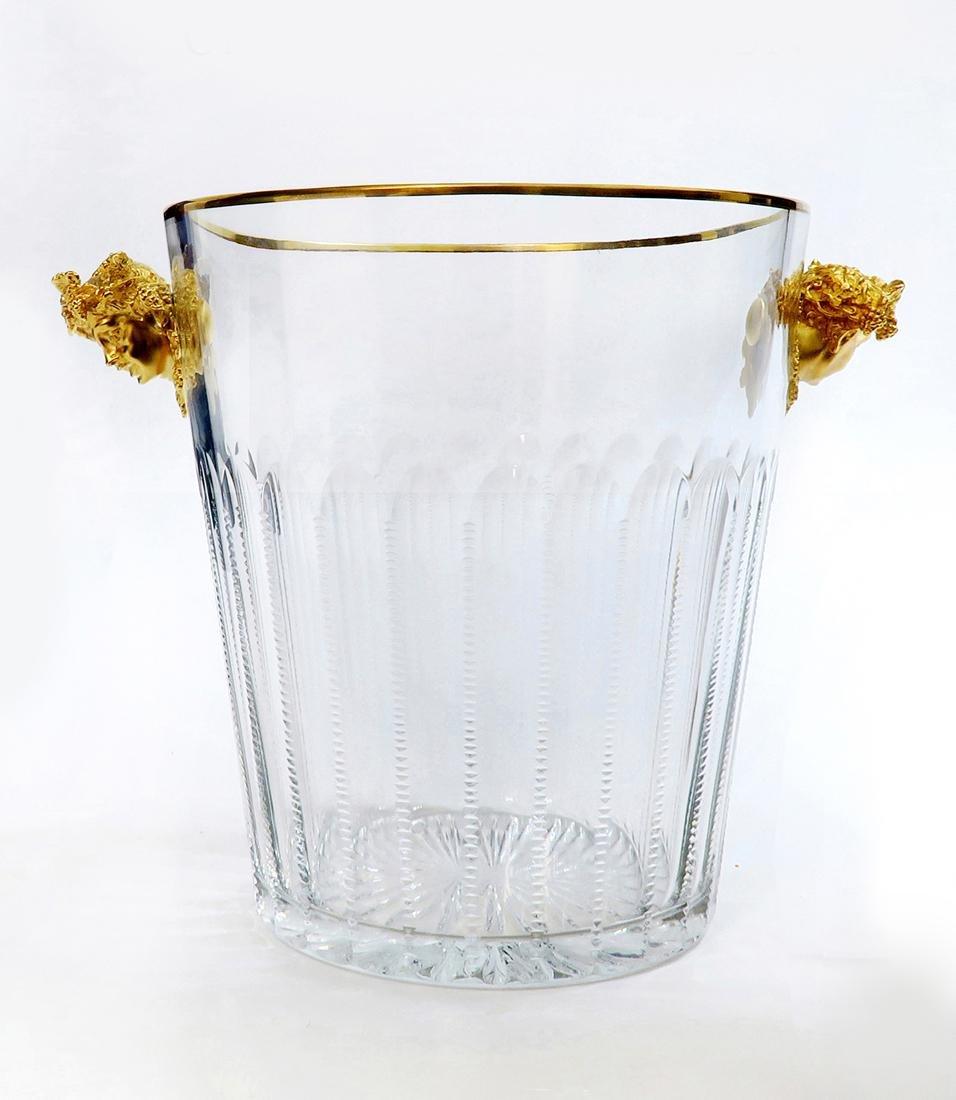 Faberge Cut Crystal & Bronze Ice Bucket - 3