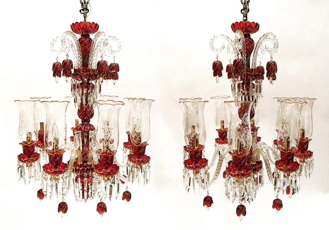 A Pair Of Baccarat style Crystal 8- Light Chandeliers - 2