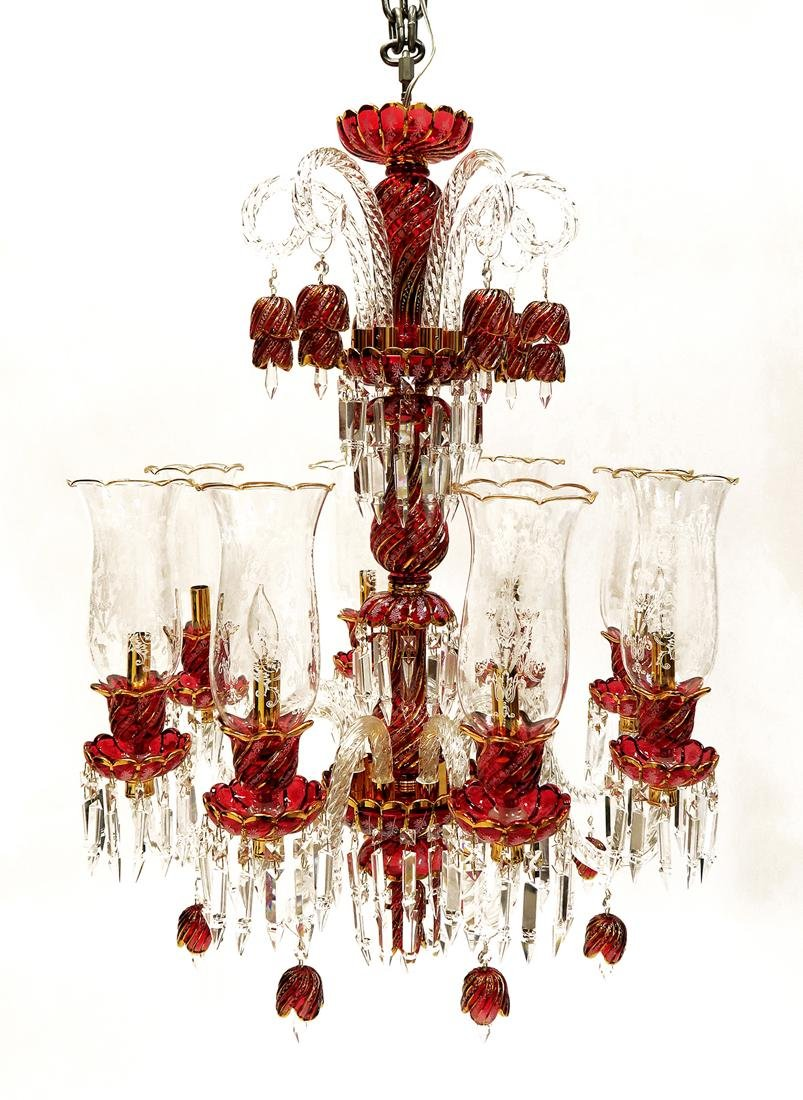 Baccarat Style 8 Branch Crystal Chandelier - 2