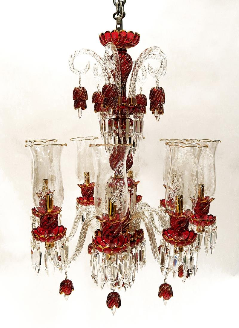 Baccarat Style 8 Branch Crystal Chandelier - 3