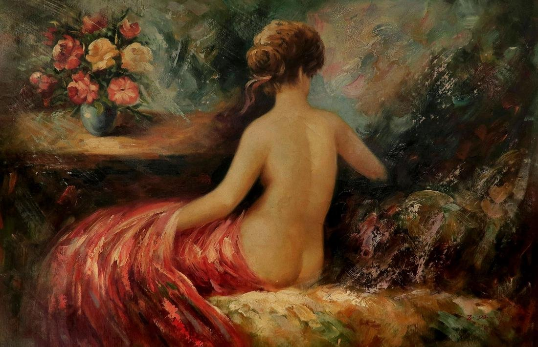 An Oil on Canvas Semi-nude lady Signed Painting - 2