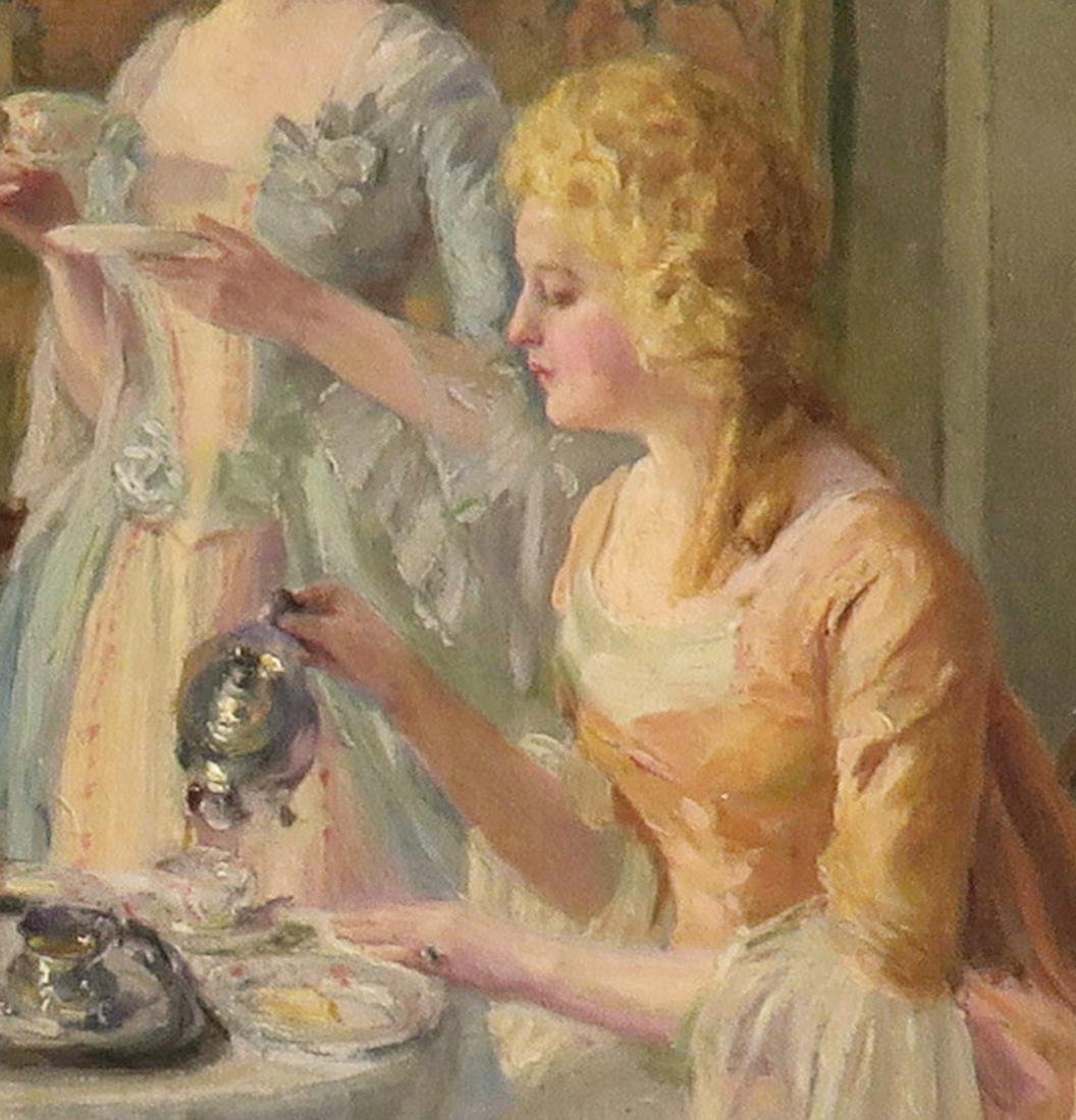 """Carl Hirschberg Large Oil on Canvas """"Afternoon Tea"""" - 3"""