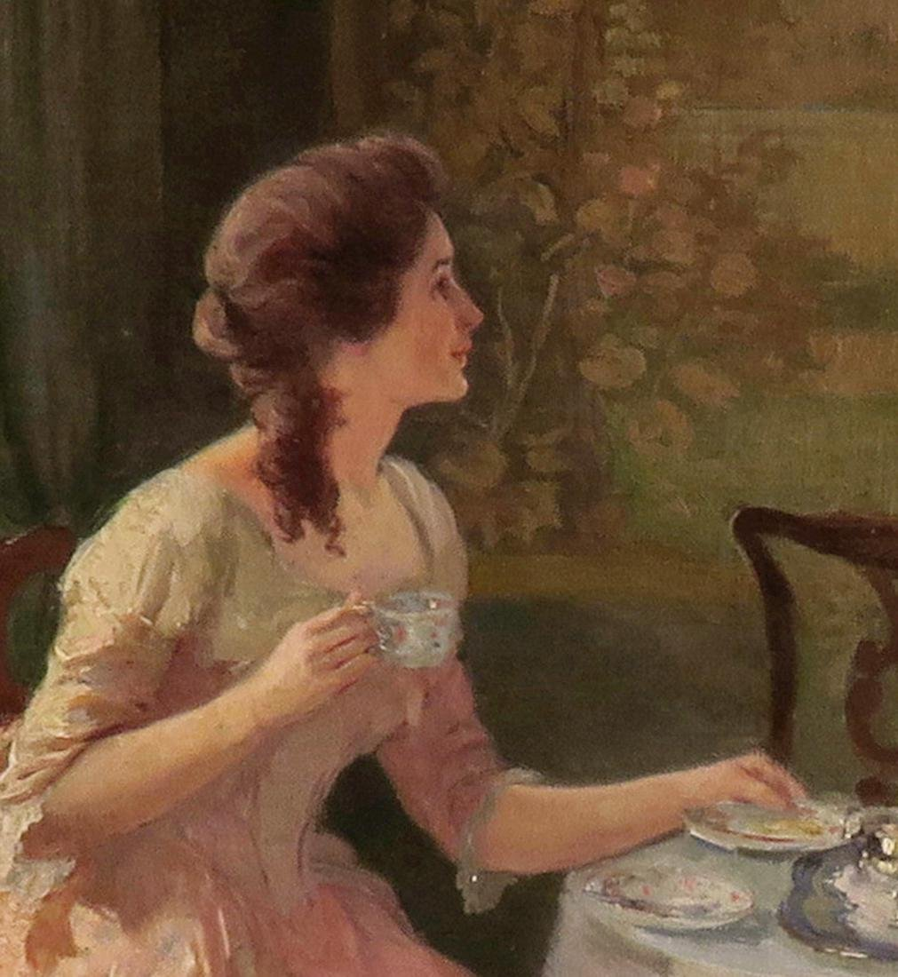 """Carl Hirschberg Large Oil on Canvas """"Afternoon Tea"""" - 5"""