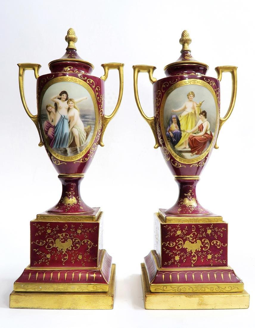 19th C. Pair of Royal Vienna Vases