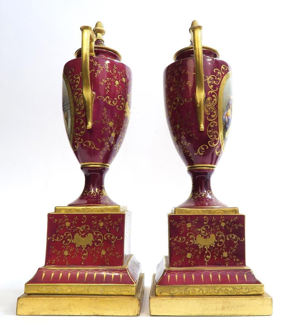 19th C. Pair of Royal Vienna Vases - 4