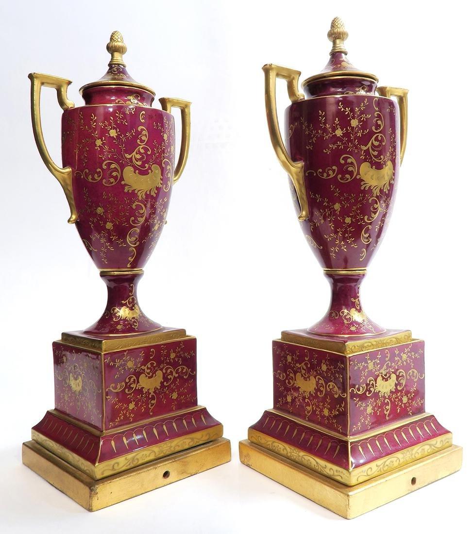 19th C. Pair of Royal Vienna Vases - 5
