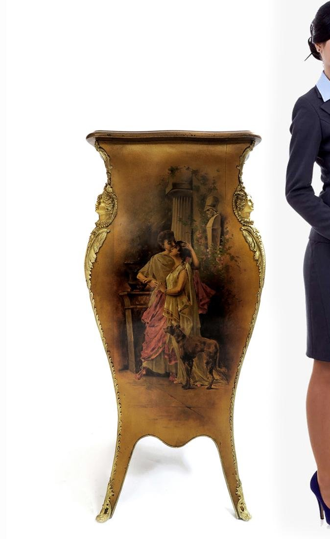 Hand Painted Vernis Martin & Bronze Pedestal. 19th C.