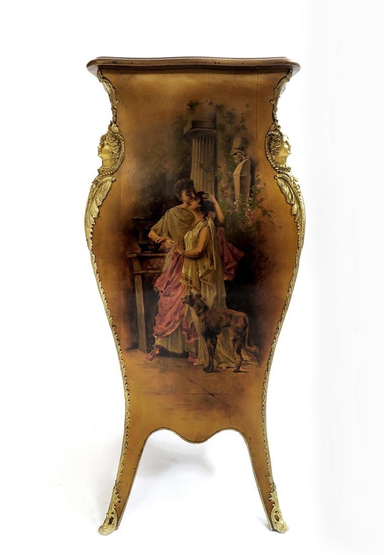 Hand Painted Vernis Martin & Bronze Pedestal. 19th C. - 2