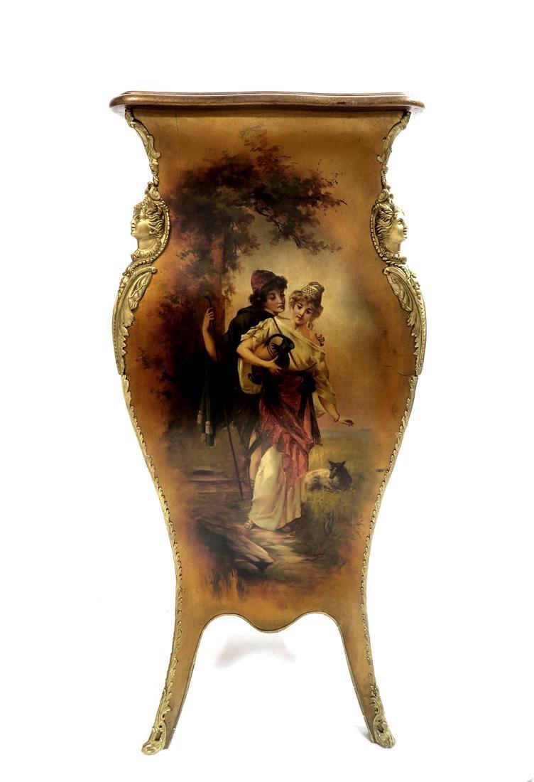 Hand Painted Vernis Martin & Bronze Pedestal. 19th C. - 5