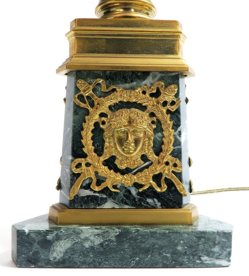 19th C. French Empire Bronze & Marble Lamp - 3