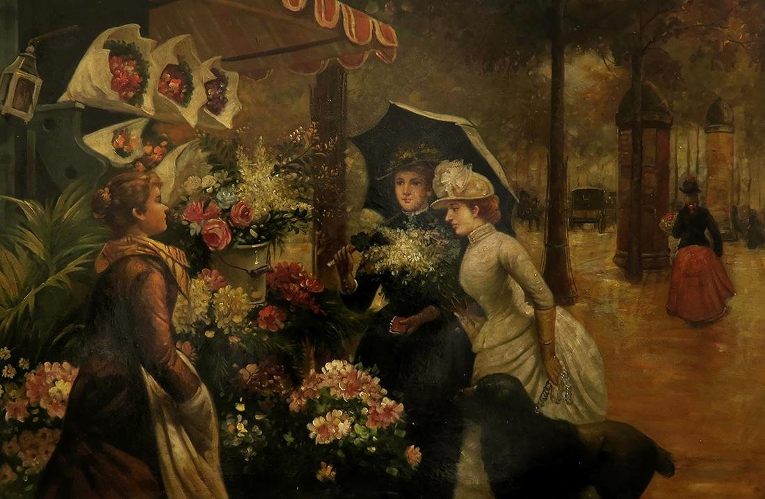19th C. Continental Oil on Canvas Painting, The Florist - 2