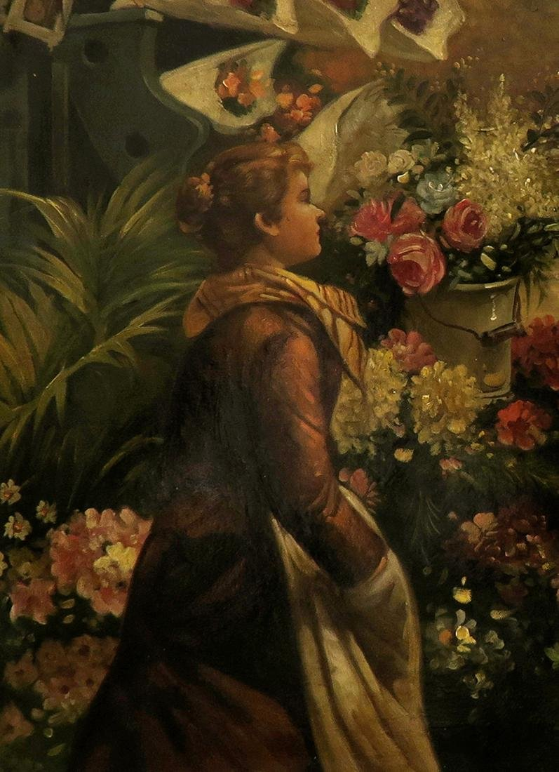 19th C. Continental Oil on Canvas Painting, The Florist - 3