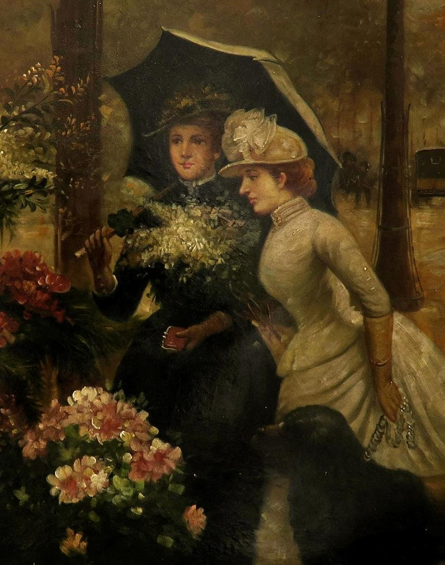 19th C. Continental Oil on Canvas Painting, The Florist - 4