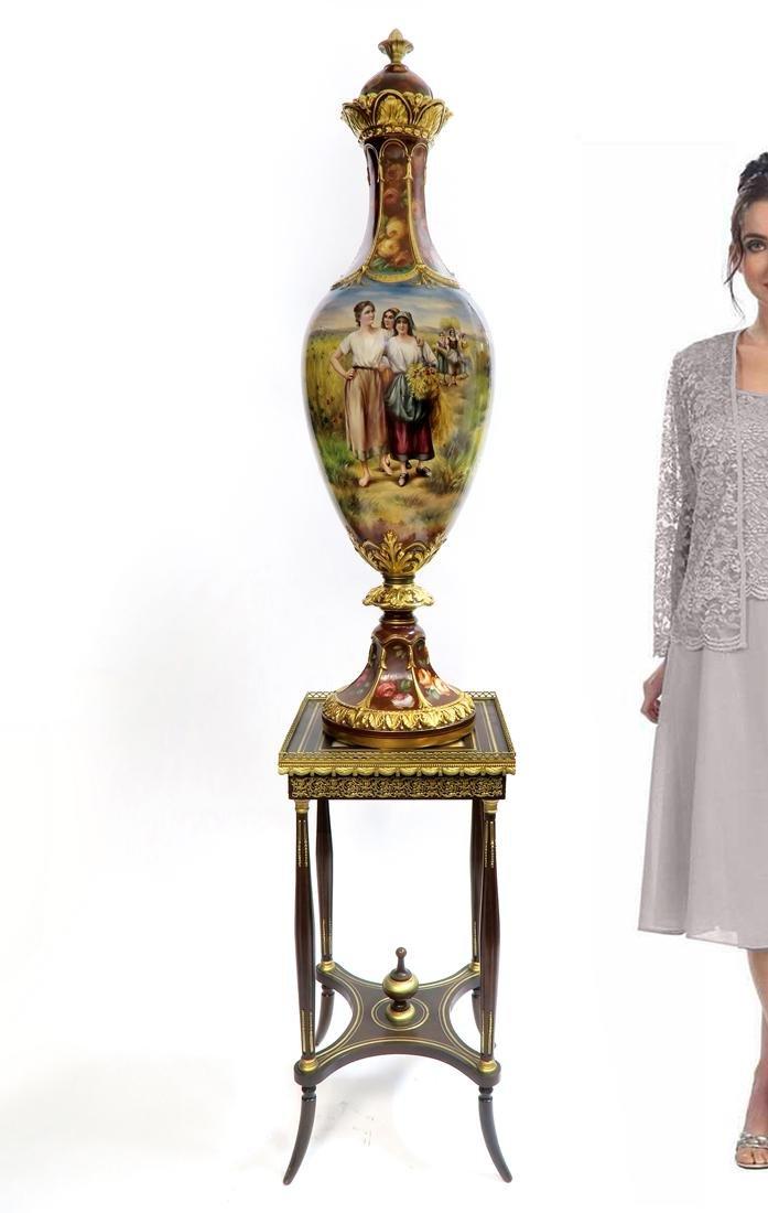 "Monumental Royal Bonn Hand Painted Covered Vase 48"""