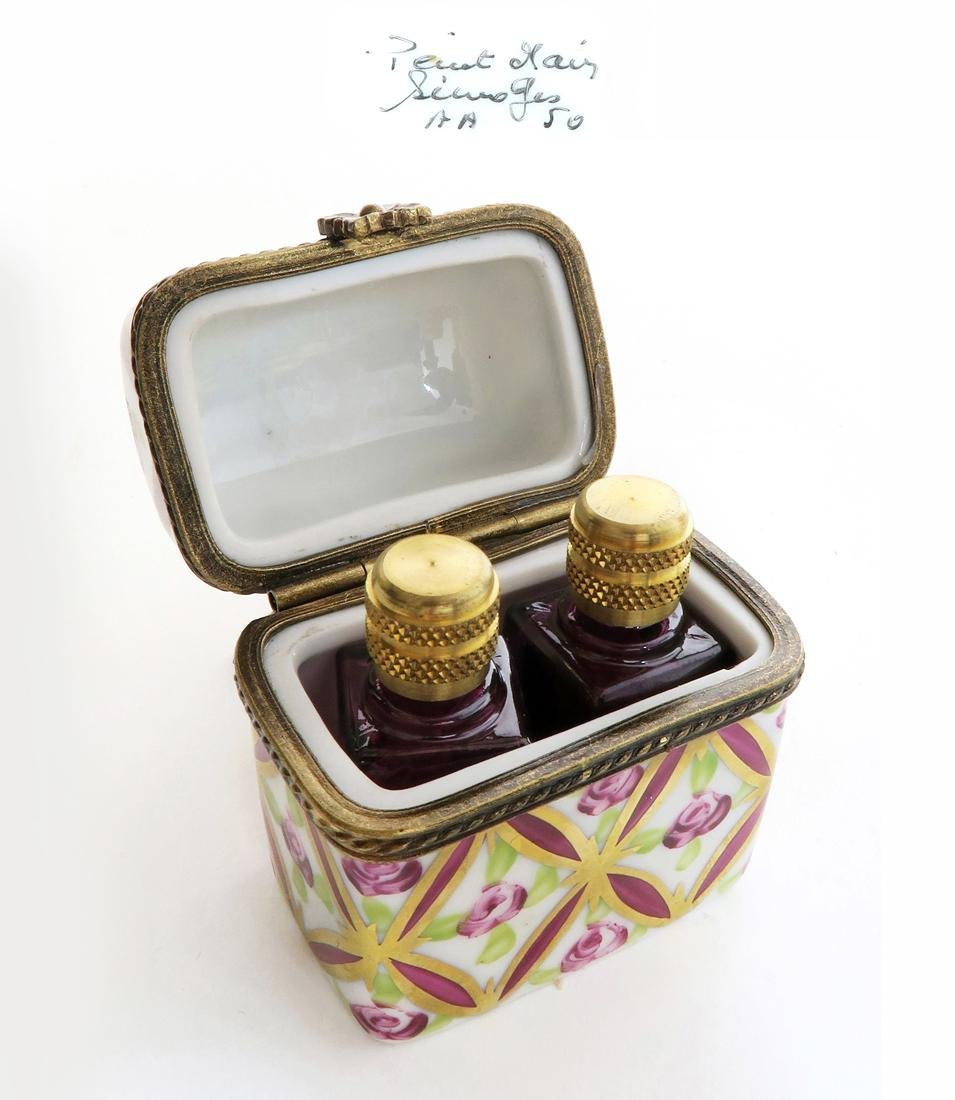 19th C. Limoges Hinged Trinket Box w/ Bottles