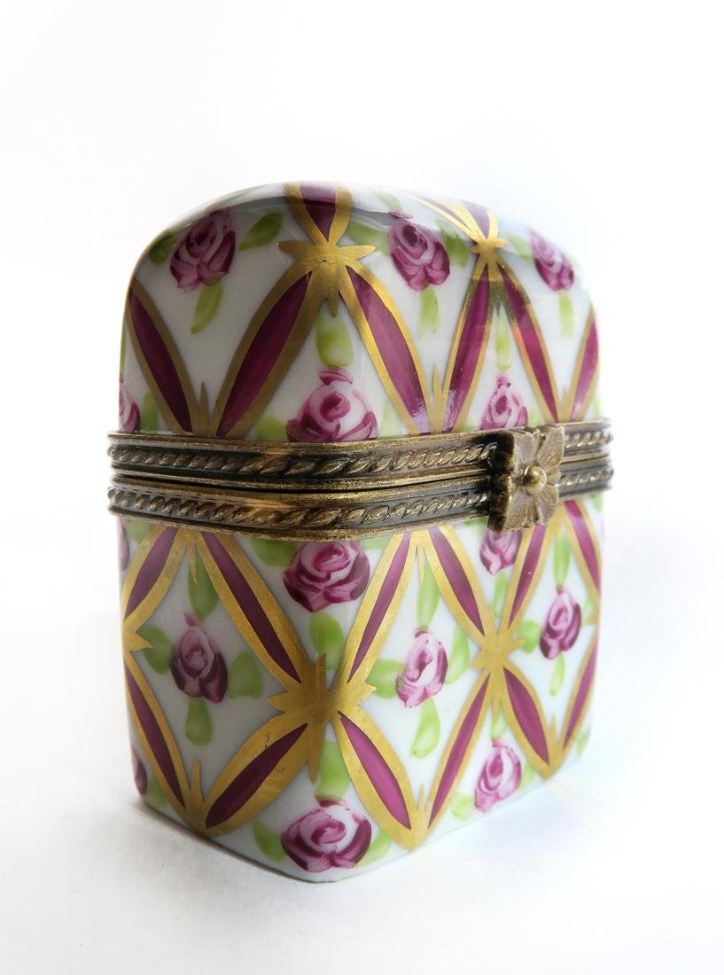 19th C. Limoges Hinged Trinket Box w/ Bottles - 2