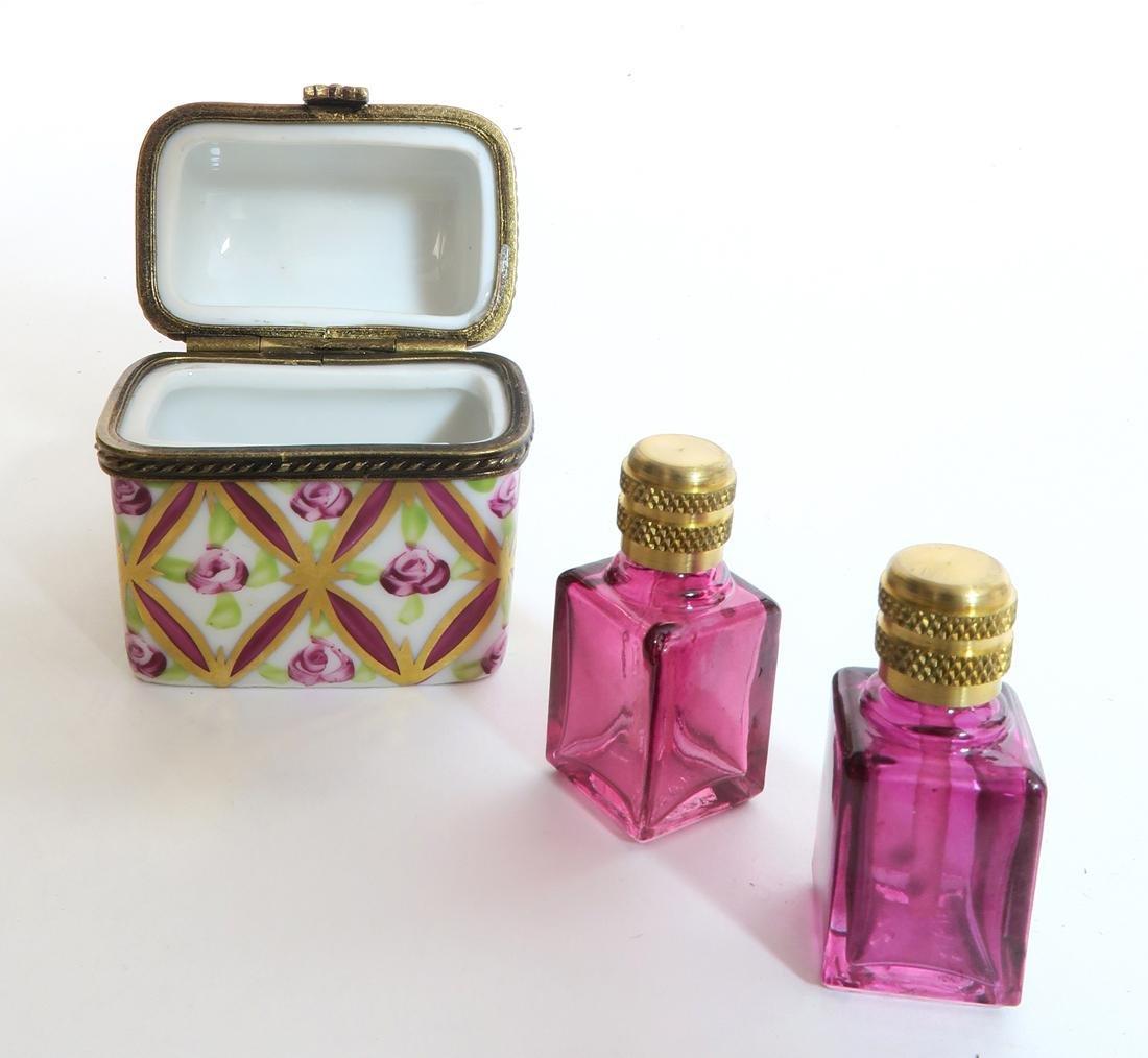 19th C. Limoges Hinged Trinket Box w/ Bottles - 4