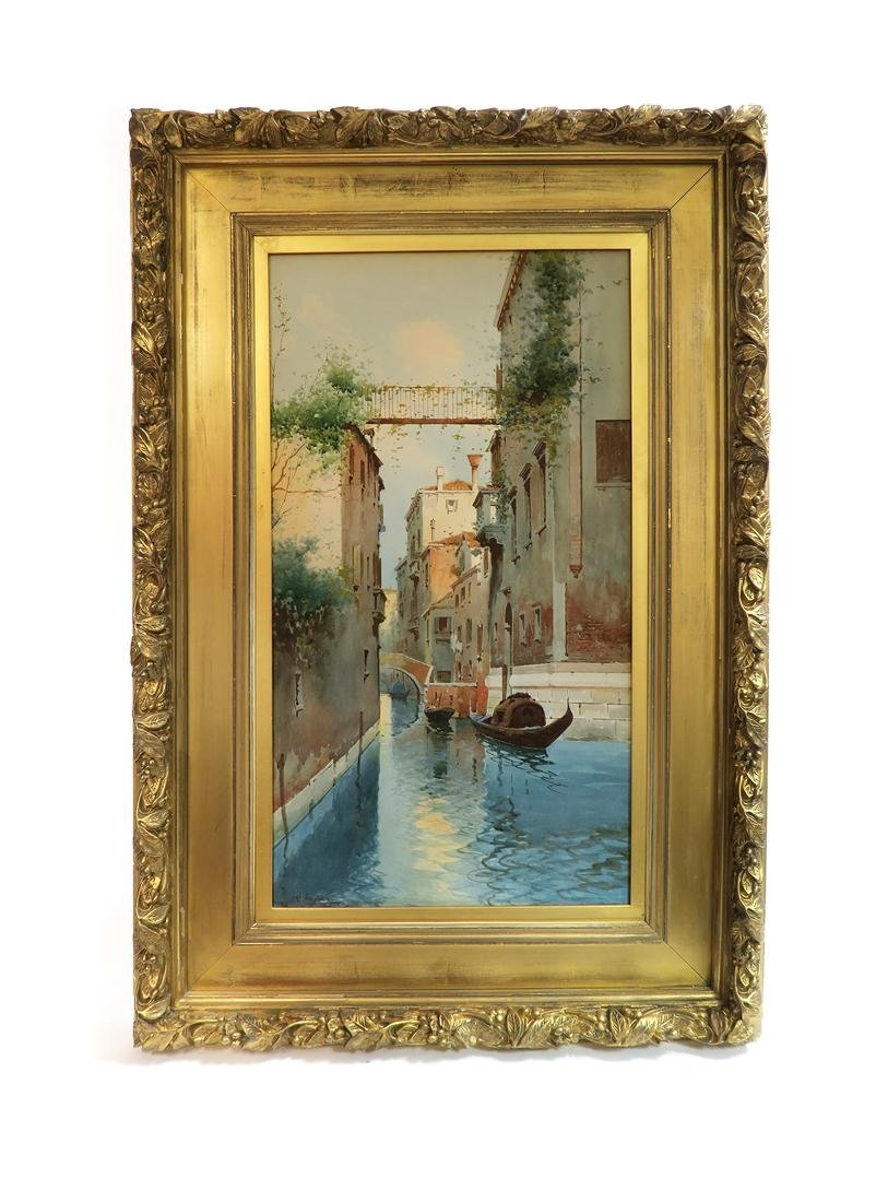 19th C. Watercolor Painting Venice Gondola