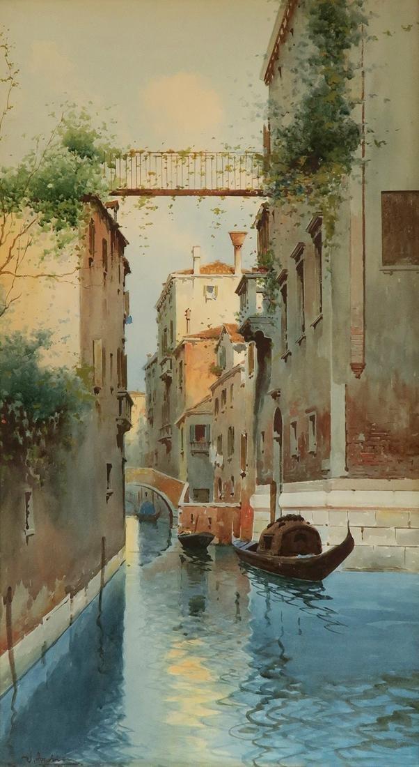 19th C. Watercolor Painting Venice Gondola - 2