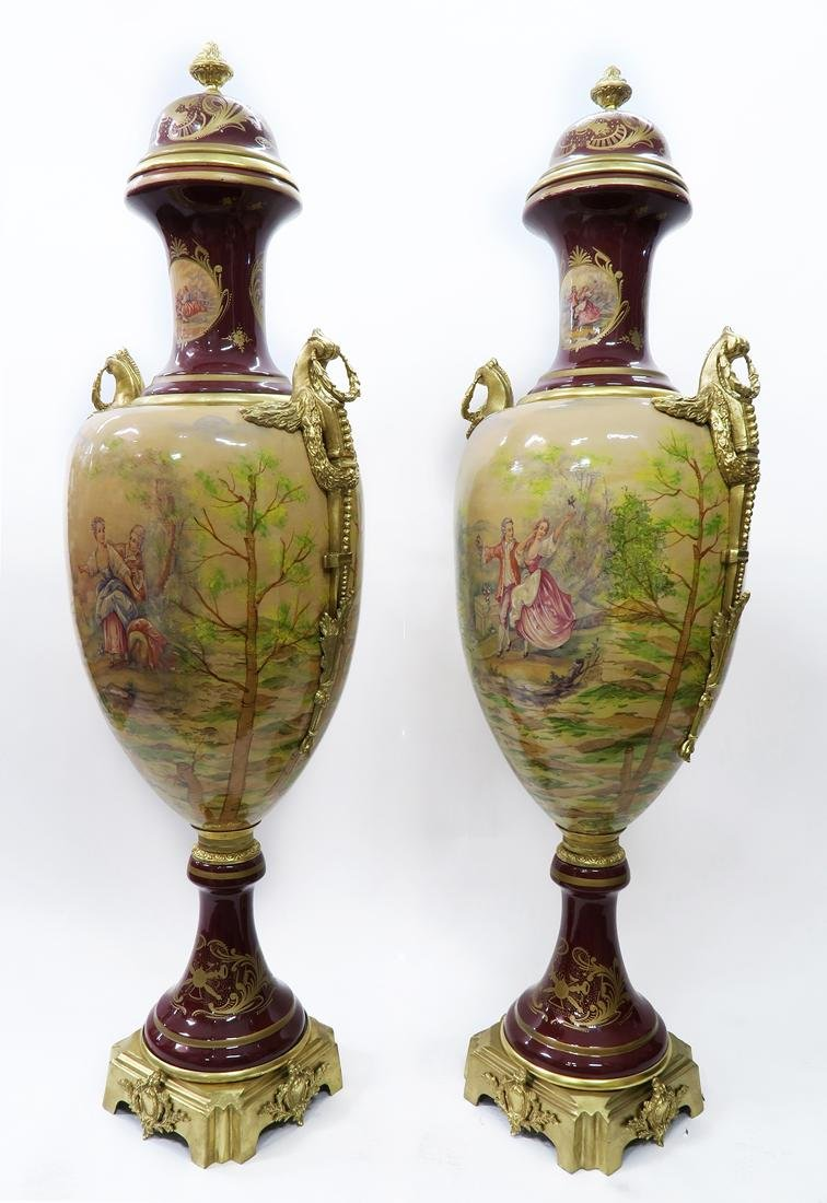 Monumental Pair of Bronze Mounted Sevres Vases - 2
