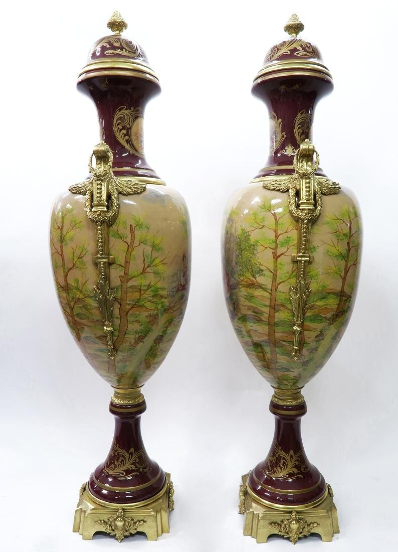 Monumental Pair of Bronze Mounted Sevres Vases - 3