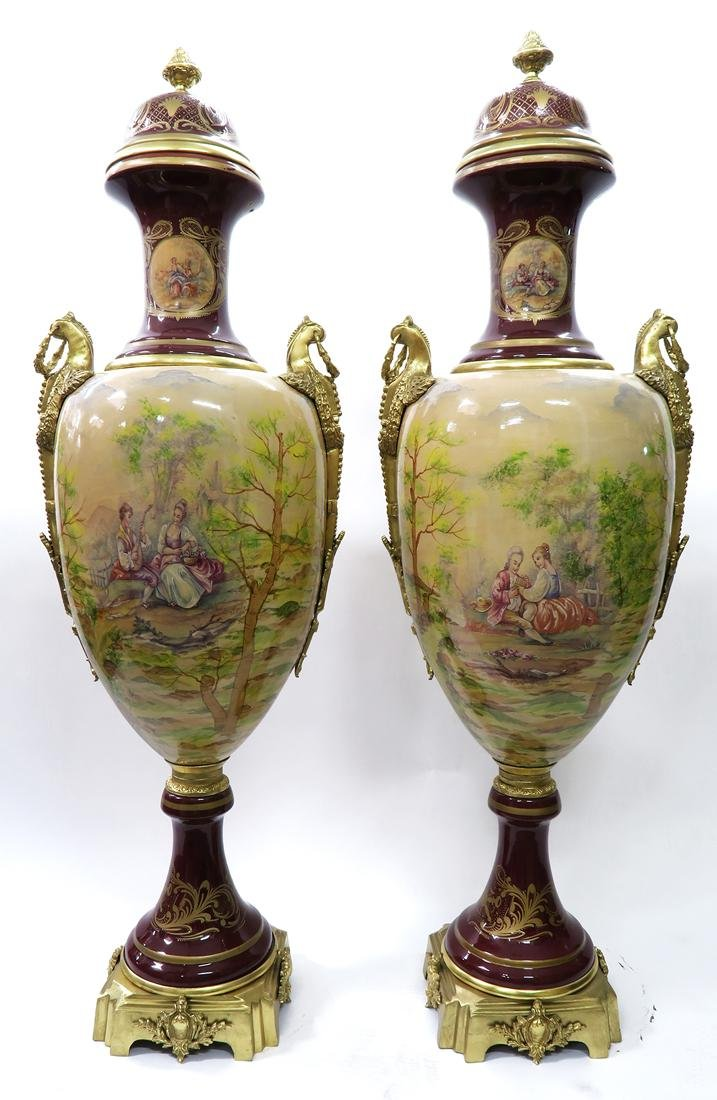 Monumental Pair of Bronze Mounted Sevres Vases - 4