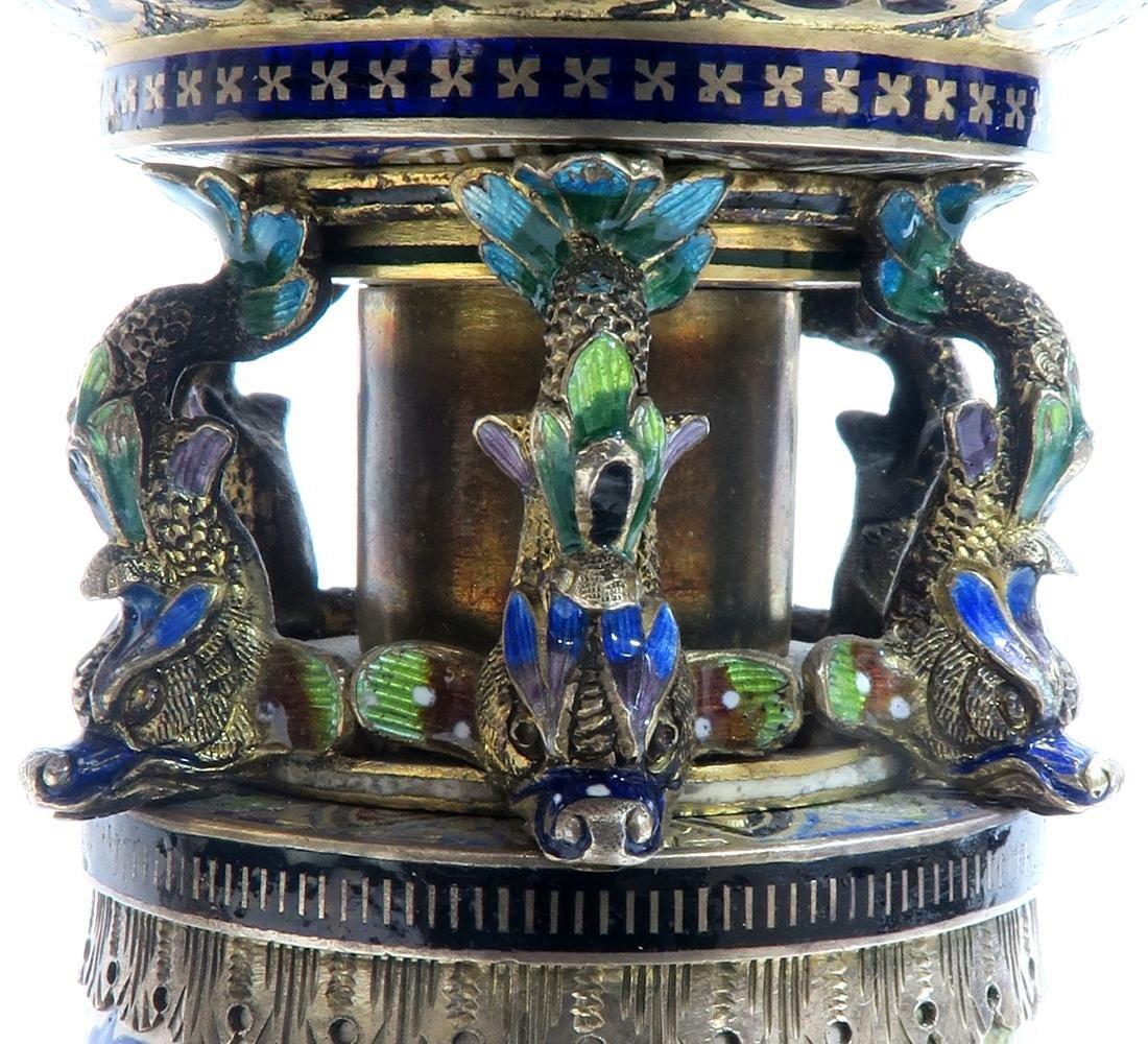 Monumental Pair of Viennese Enamel on Silver Vases - 10