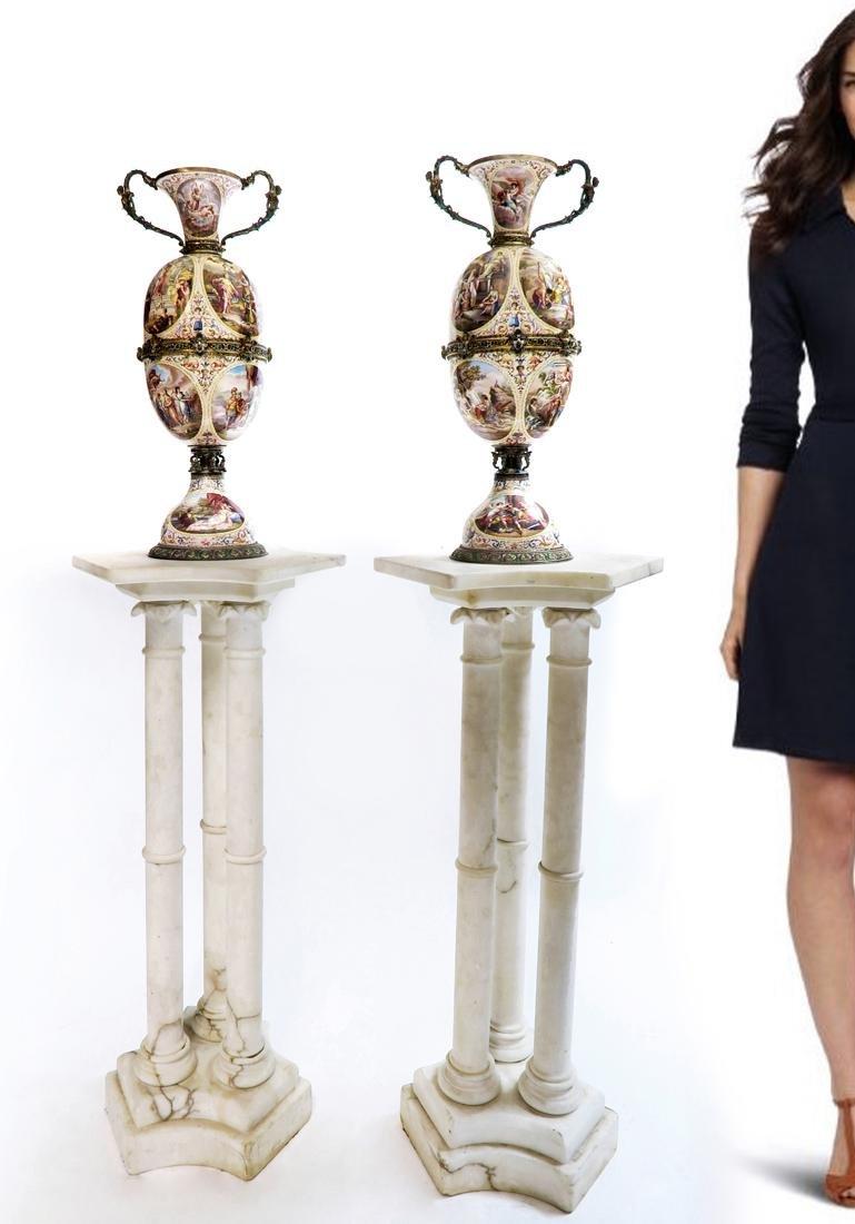 Monumental Pair of Viennese Enamel on Silver Vases