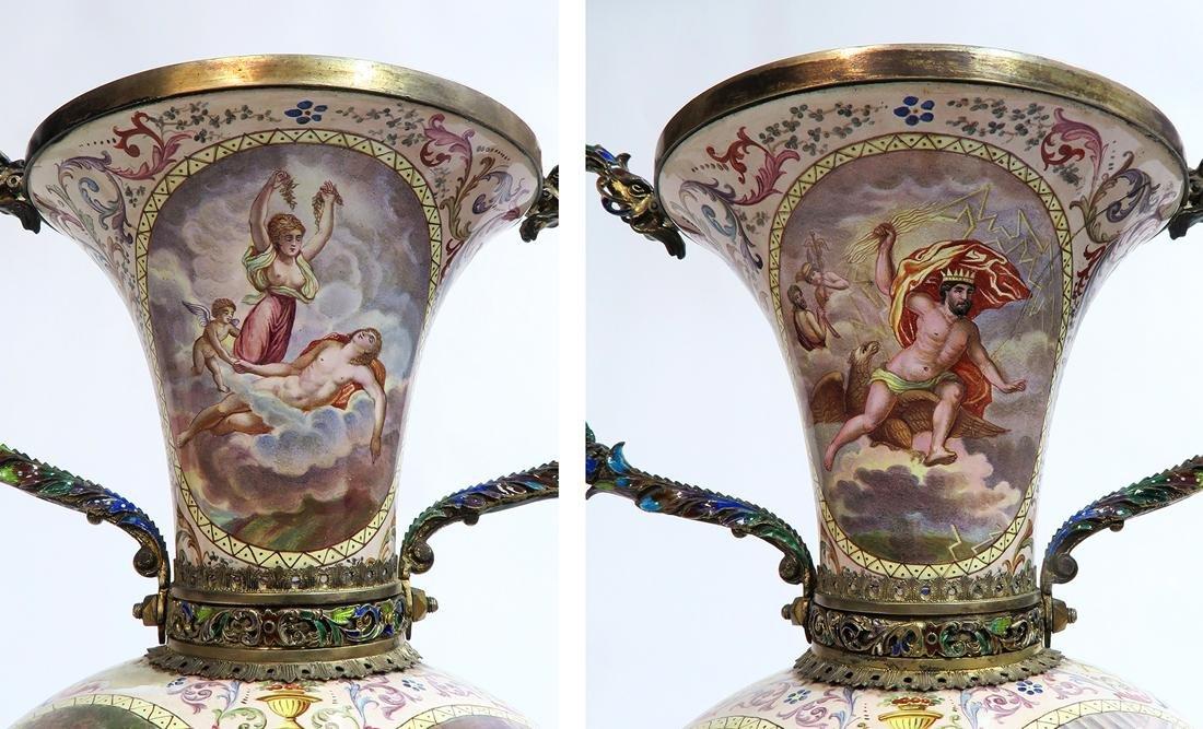 Monumental Pair of Viennese Enamel on Silver Vases - 4