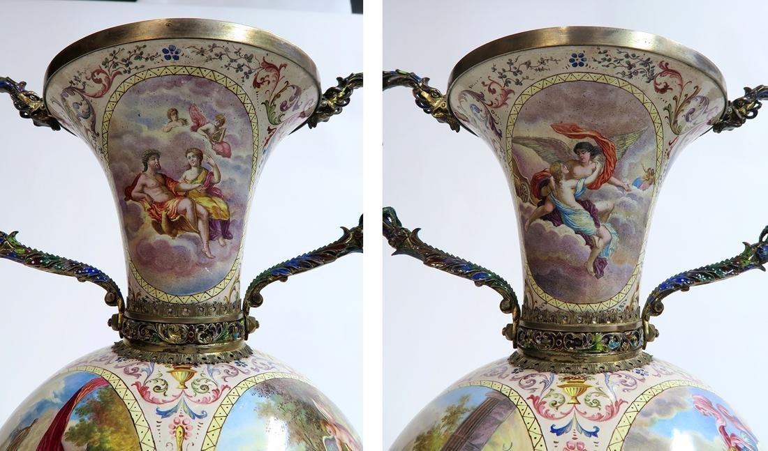 Monumental Pair of Viennese Enamel on Silver Vases - 6