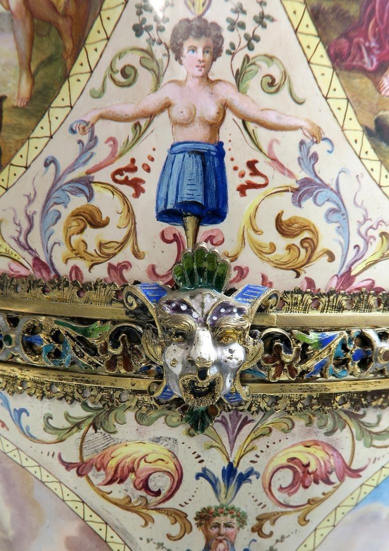 Monumental Pair of Viennese Enamel on Silver Vases - 8
