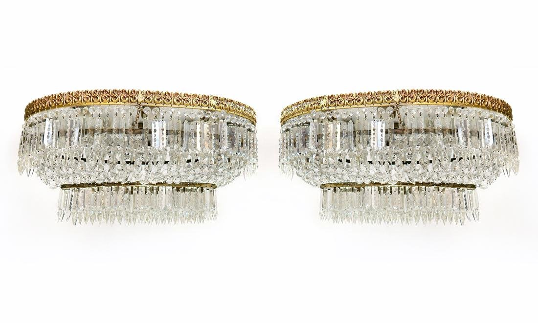 A Pair of Baccarat Style Crystal Chandelier