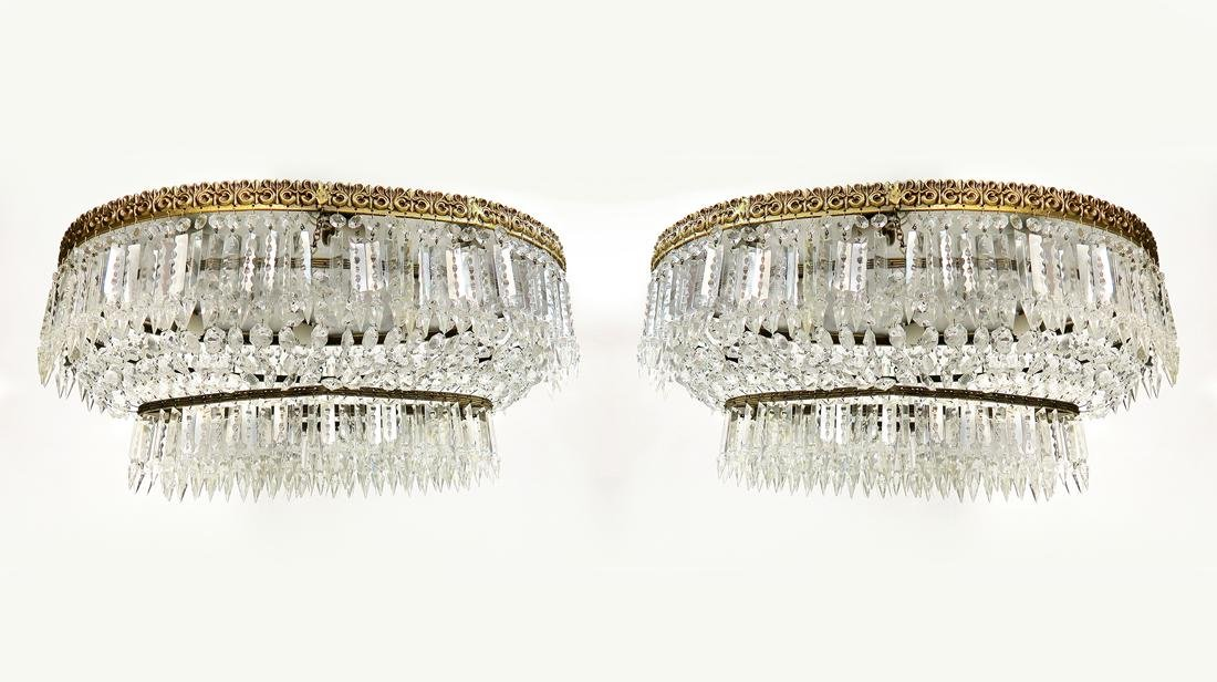 A Pair of Baccarat Style Crystal Chandelier - 2