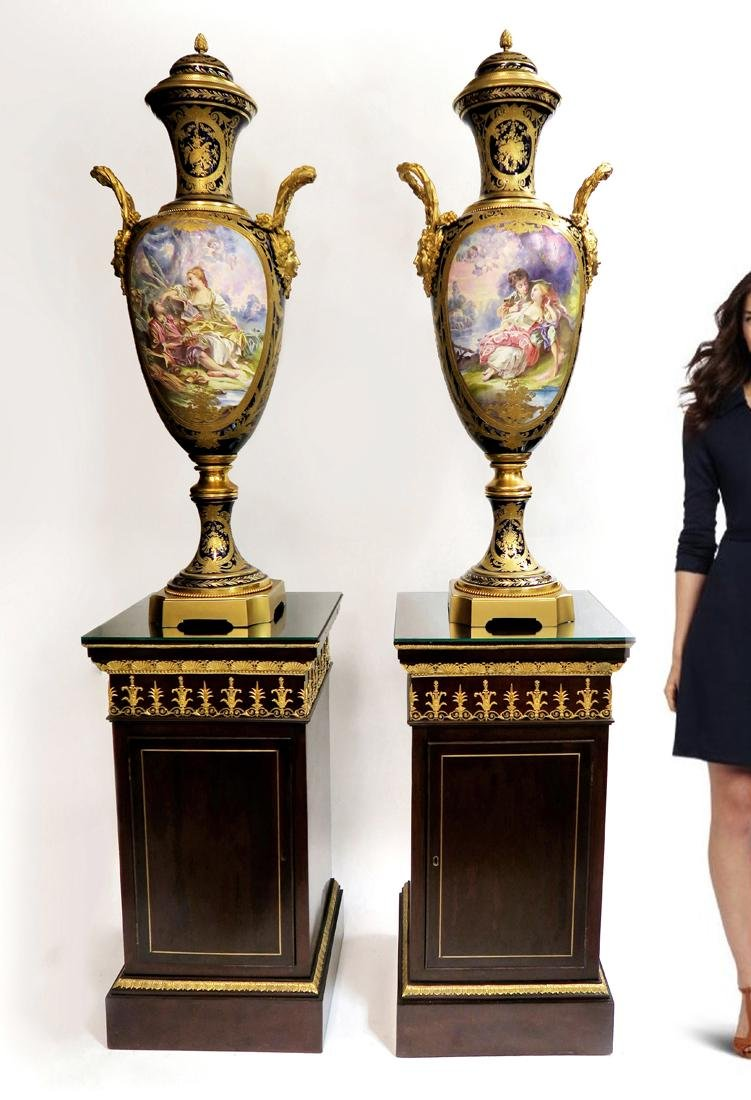 Pair of 19th C. Monumental Sevres Vases. Museum Quality