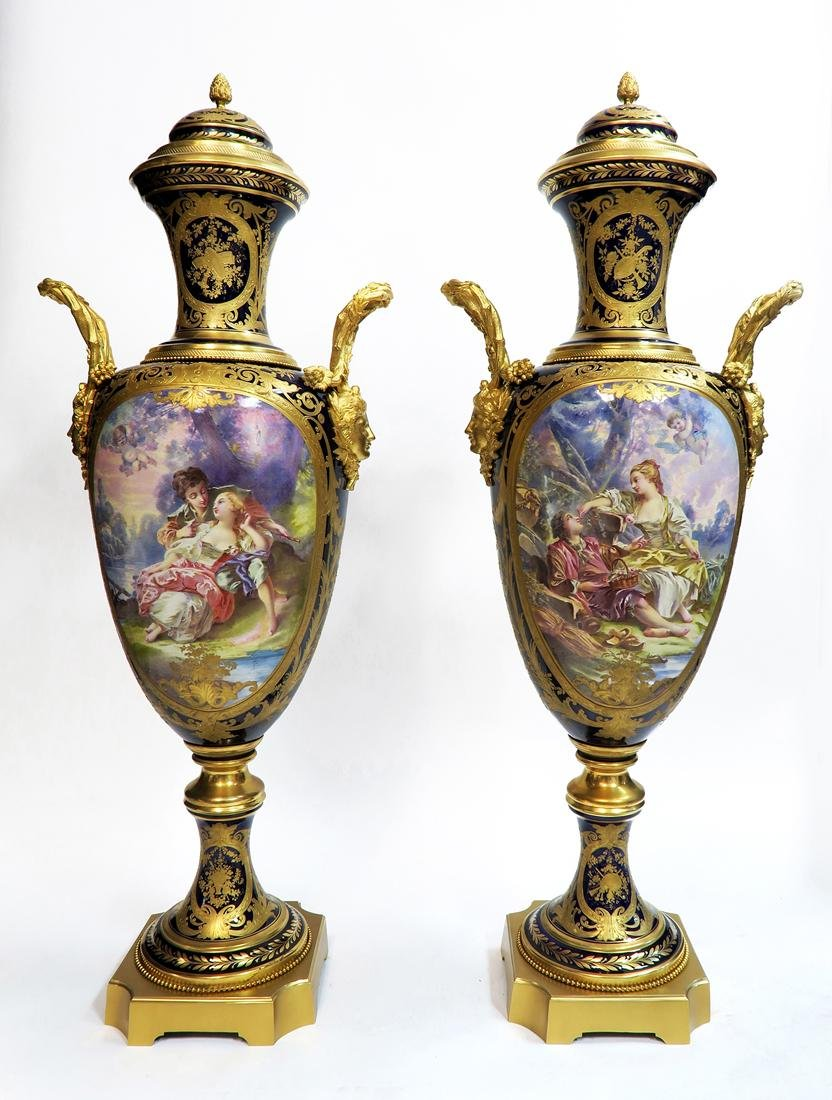 Pair of 19th C. Monumental Sevres Vases. Museum Quality - 2