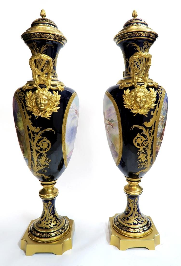 Pair of 19th C. Monumental Sevres Vases. Museum Quality - 8