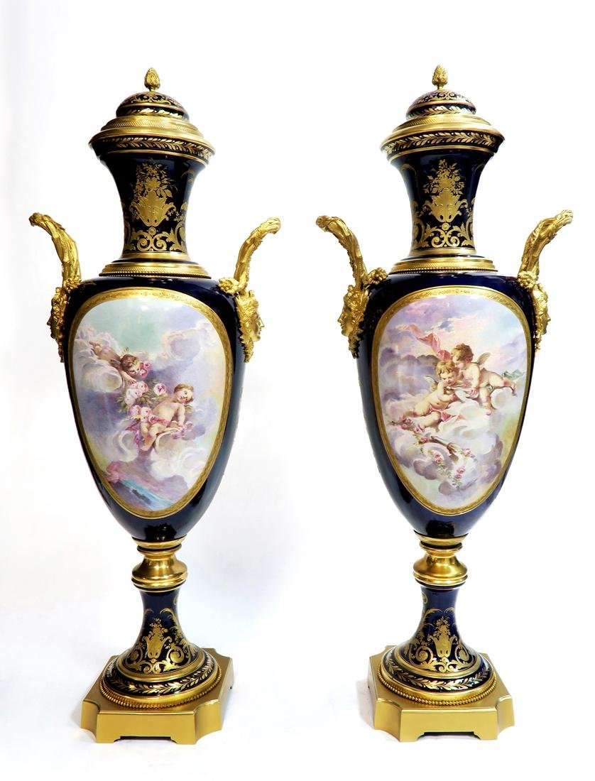 Pair of 19th C. Monumental Sevres Vases. Museum Quality - 9
